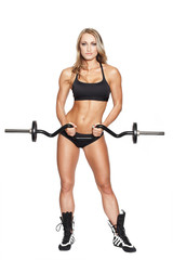 Fitness model with curl bar dumbbell