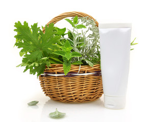 Fresh herbs in wicker basket and cream tube