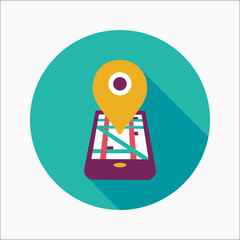 Navigation concept flat icon with long shadow