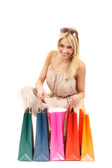 Attractive blonde with shopping bags