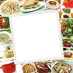 Collage with various dishes and blank frame in the middle
