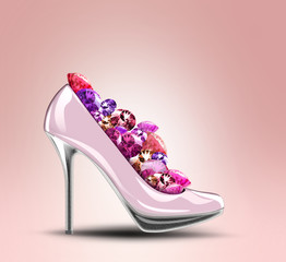 Elegant high heel shoes with diamonds