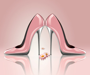 Elegant high heel shoes with flowers