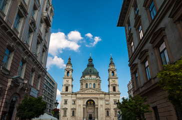 Front view of Saint Stephens Basilica in Budapest Hungary