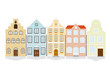 Flat Design Historic Town House Vector Icon Set