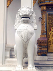 The over 150 years ancient marble lion at temple