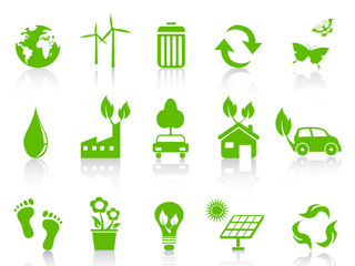simple green eco icons set