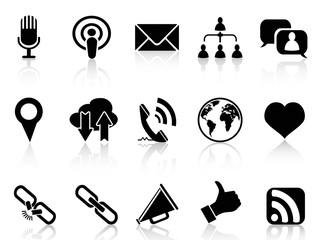 black social communication icons set