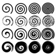 Set of spiral motion elements, black isolated vector objects - 68677282