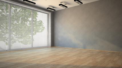 Empty room with parquet floor 3D