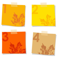 Set of stick notes papers, watercolor leaves prints, vector