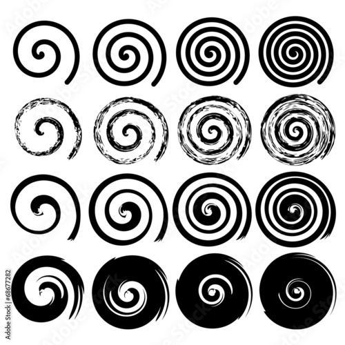 Set of spiral motion elements, black isolated vector objects