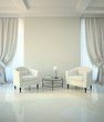 Room in classic style with two armchairs and coffe table
