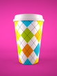 coffee cup isolated on purple background