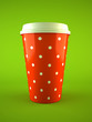 coffee cup polka dot  isolated on green background