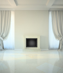 Room in classic style with fireplace