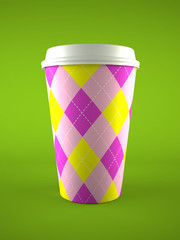 coffee cup isolated on green background