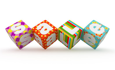 Sale word on colorful fabric cubes on white background 9