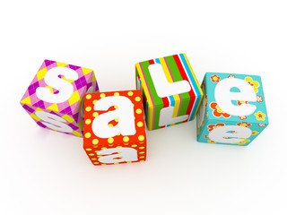 Sale word on colorful fabric cubes on white background 7