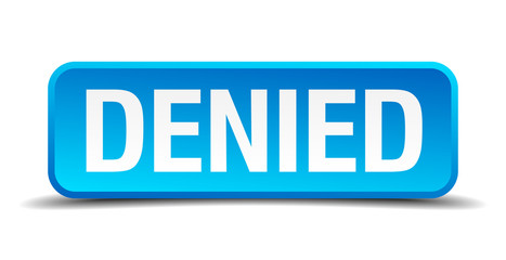 denied blue 3d realistic square isolated button
