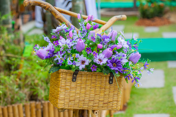 Flower basket on the bike