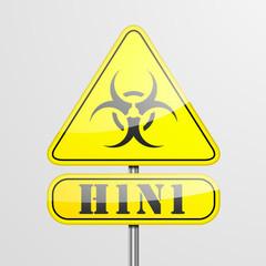 Yellow H1N1 Warning Sign