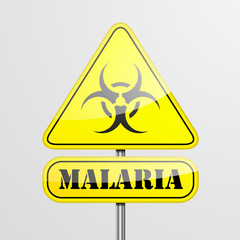 Yellow Malaria Warning Sign