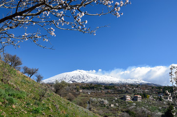 Sicilian view with the volcano Etna
