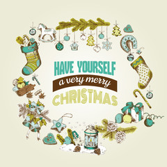 Christmas Card - with hand-drawn Christmas Elements - in vector