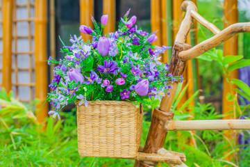 Flower basket on the bike