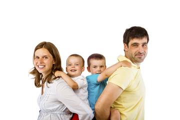 Happy family in studio