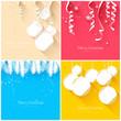 Elegant Christmas greeting cards - flat design style