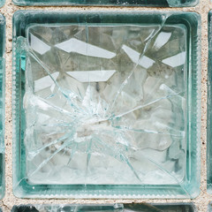Broken glass brick fragment