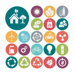 Ecology and recycle icons, vector