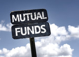 Mutual Funds sign with clouds and sky background poster