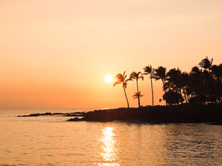 ハワイ島の夕日