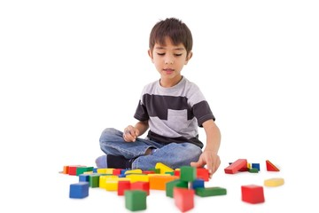 Happy little boy playing with building blocks