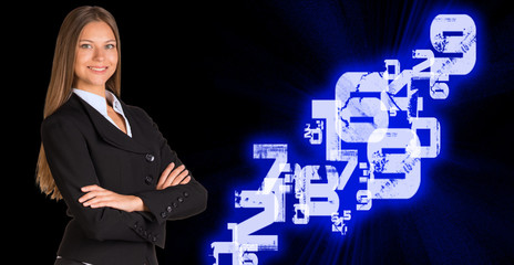Businesswoman in a suit. White glowing figures