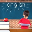 English against red apple on pile of books in classroom