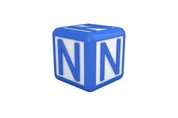 N blue and white block