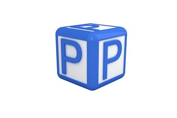 P blue and white block