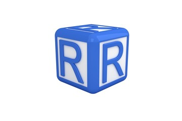 R blue and white block