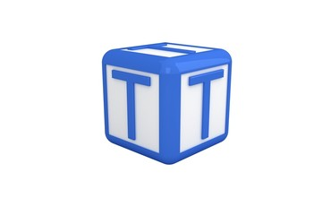 T blue and white block