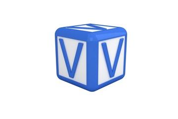 V blue and white block