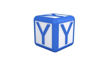 Y blue and white block