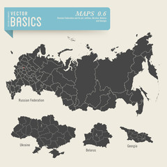 maps of the Russian Federation, Ukraine, Belarus and Georgia