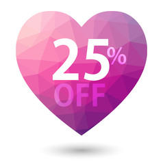 Pink heart triangular price vector bookmark 25 percent sale off.