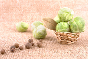 Brussels Sprout with Spices on the Sackcloth