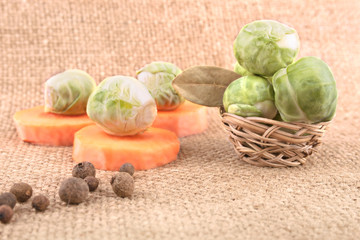 Still life with Brussels Sprout, Carrot and Spices