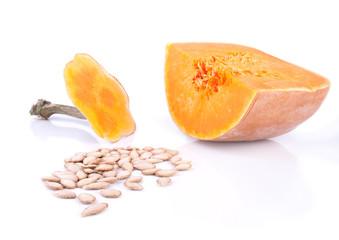 Brightly orange pumpkin with it's seeds